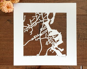 ogunquit hand cut map, 10x10.
