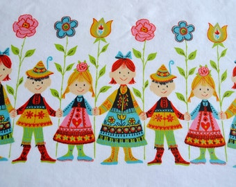 Vintage Fabric - Scandinavian Girls Boys and Mod Flowers - 44 x 36 Border Fabric