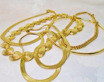 Vintage Trifari Sarah Coventry Napier Gold Lot 5 Chokers Necklaces Signed Runway Destash Retro Modern Minimalist Art Deco Bride Statement