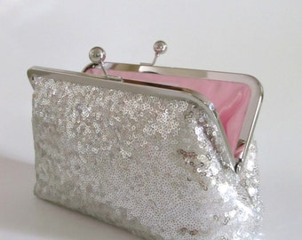 Icy Silver Sequin Clutch,Wedding Accessories,Bridal Accessories,clutch purse,Wedding Clutch,Bridesmaid Clutch, Bridal Purse
