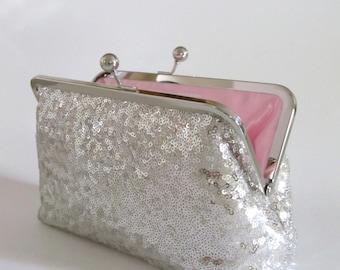 Icy Silver Sequin Clutch,Wedding Accessories,Bridal Accessories,clutch purse,Wedding Clutch,Bridesmaid Clutch, Bridal Purse