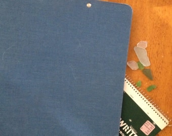 3 ring binder blue classic canvas cloth linen back to school vintage clip