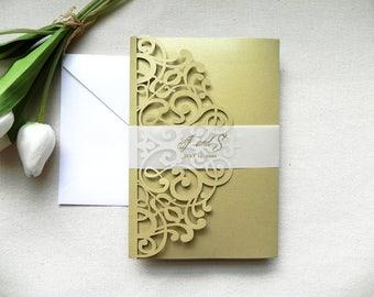 Metallic Gold Art Deco Scrolls Invitation Suite for Vintage Wedding - Laser Cut Folder, Insert Card, RSVP, Belly Band, and Envelopes