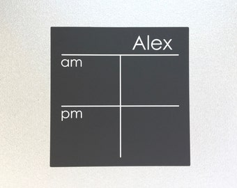 NEW - Chalk Board AM/PM Chore Chart Decal - 7 x 7, personalized peel and stick decal