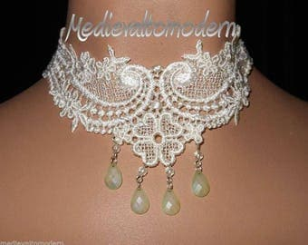 Choker Collar in Cream Soft Venise Lace Victorian Rich Cream Teardrop Intracate Wedding Formal Turn of Century Modern Wearable Art Cover