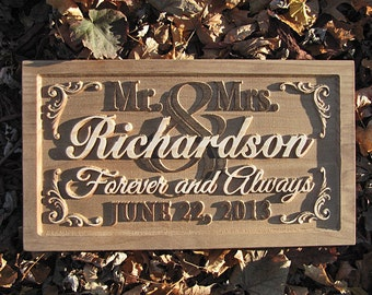Personalized Family Name Signs custom wedding gift 3D CARVED Wooden Sign Last name Wedding Established Mr Mrs Couples Flourish sign Lovejoys