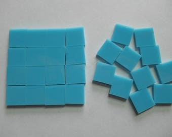 "100 Pieces 1/2"" x 1/2"" Teal Blue Opaque Stained Glass Mosaic Tiles Hand cut Teal Blue Tile Solid Color Not Transparent"