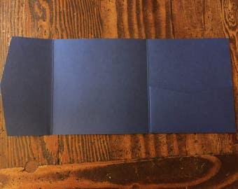 Blue Pocket Invitation, Pocketfold, Wedding Invitation, Matte, DIY Wedding Stationery - 45 pcs