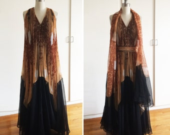 Vintage 1970s 70s Ethereal Abstract Bohemian Maxi Dress in Brown, Black, White