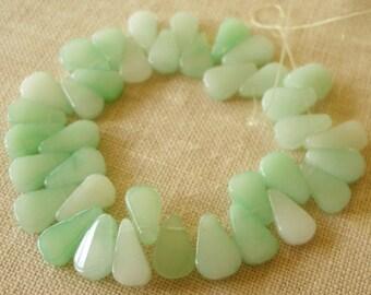 Quartz Teardrop Beads, 37 Pieces, 14mm