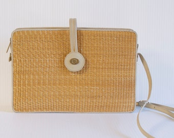 Vintage Straw and Leather Purse by Etienne Aigner - Crossbody bag