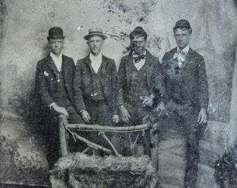 Victorian Tintype Group Portrait / Handsome Young Men