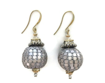 ON SALE Oversize Silver Ball Dangle Beaded Statement Earrings with Rhinestones and modern Silver hooks in Gold and Silver