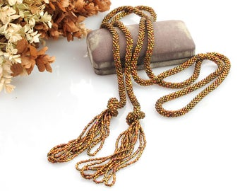 Iridescent Copper Antique Beaded Necklace | Antique 1920s Sautoir Beaded Necklace | 1920s Flapper Necklace