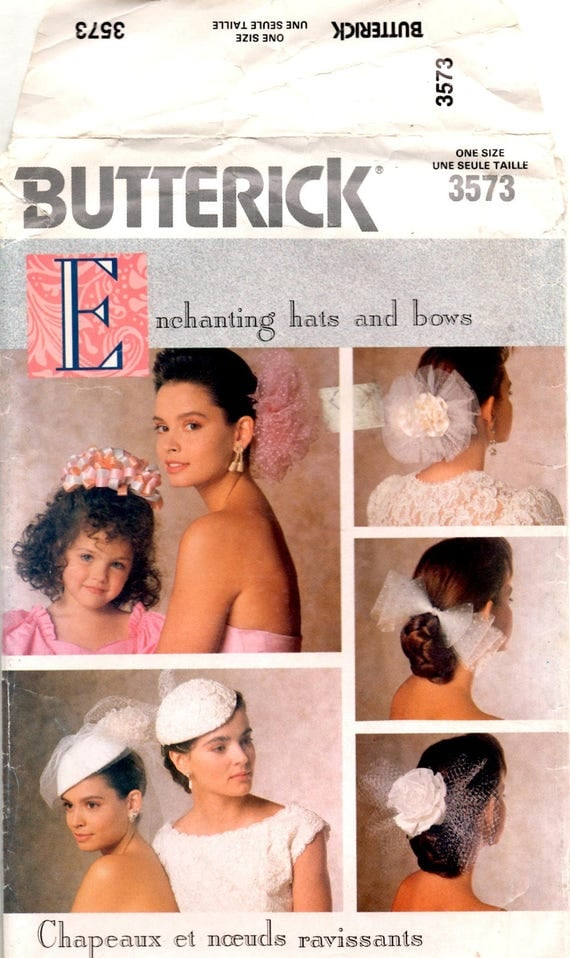 "1980s bridal pattern ""Enchanting hats and bows"" - Butterick 3573"