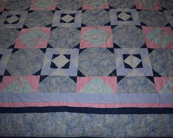 Beautiful Handmade Pink, Blue and Lavender Quilt
