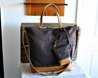 Canvas and vegan leather totebag/ carryall/ tote /messenger/ crossbody purse/Matching pouch included Brown caramel colors- READY