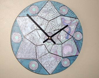 SILENT 10 Inch Decoupage Art Wall Clock in Soft Blue Purple and Teal Featuring Whimsical Floral and Paisley Designs - 2201