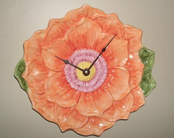 10 Inch Orange and Peach Flower Ceramic Wall Clock, SILENT Flower Clock, Flower Wall Decor, Unique Wall Clock - 2290