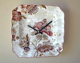 Victorian Floral Wall Clock, 8-3/4 Inch Ceramic Plate Clock, SILENT Kitchen Clock, Unique Wall Clock - 2356