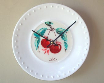 9 Inch Hand Painted Cherry Porcelain Plate Wall Clock, Silent Kitchen Clock, Unique Wall Clock, Cherry Clock - 521