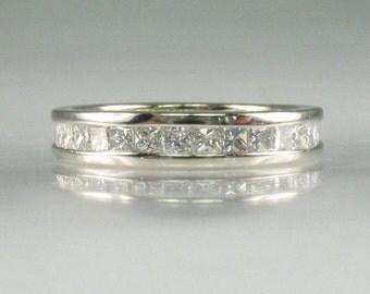 Diamond Eternity Band – Princess Cut Diamonds - Appraisal Included – 1.16 Carats Diamond Total Weight