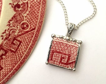 Broken china jewelry -  necklace pendant - antique red pink willow broken china jewelry