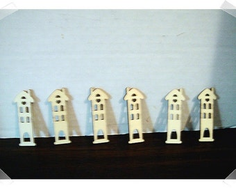 Unfinished Wooden Cutouts- Tiny Houses/ Set of 6/ Craft Supplies*