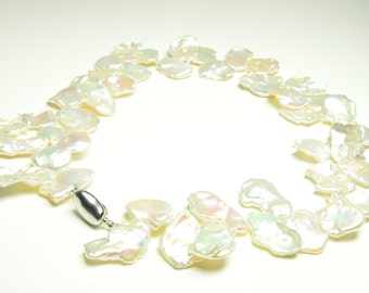 Keshi Pearl Necklace - White Keshi Pearl Necklace - 17 inches 12-19mm White Keshi Pearl Neklace - Sterling silver