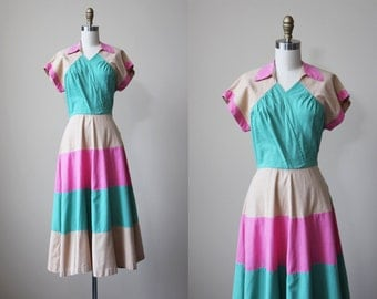 1940s Dress - Vintage 40s Dress - Color Block Pink Tan Jadeite Linen Swing Sundress S - Spumoni Dress