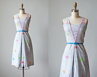 70s Dress - Vintage 1970s Dress - Soft Cotton Novelty Print Grey Sundress L XL - Button Button Dress
