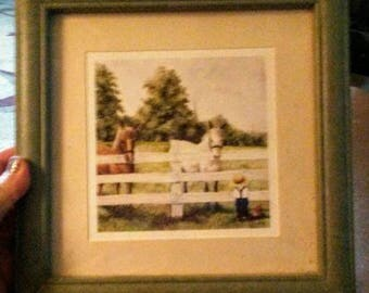 Cute Horses & Amish Boy Framed Picture