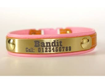 Cat collar personalized customized with engraved lightweight metal plate-choose your colors by Ruggit Collars