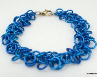 Blue Shag Bracelet, Aluminum Chainmail Bracelet, Aluminum Bracelet, Blue Bracelet, Blue Chainmail Bracelet, Gift for him, Gift for her