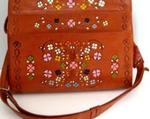 CLOSING SALE Vintage hand painted tooled leather purse. Unusually large. Travelling case. Tote bag. Beautiful floral design. Hippie bag. Boh