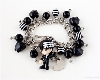 Death the Kid Charm Bracelet, Black and White, Stripes, Anime Character, Gothic Lolita, Gothic Jewelry