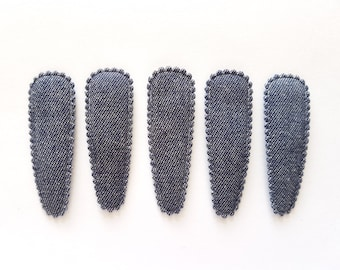25 pcs - Dark Blue Denim Jeans Hair Clip COVERS - Size 55 mm