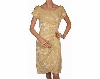 Vintage 1960s Dress - Yellow Brocade - M
