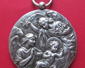 Guardian Angels Antique French Religious Medal Virgin Mary Pendant By Sylvain Kinsburger
