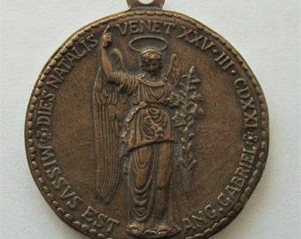 Archangel Gabriel Annunciation Saint Mark Lion Antique Religious Medal Pendant SS-535