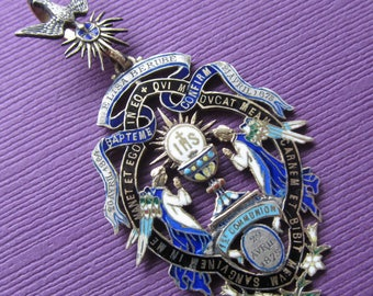 Angels In Adoration French Art Nouveau Religious Pendant In Silver Vermeil And Enamel By Gueyton Paris Circa 1880