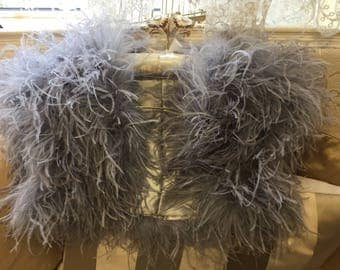 Limited Edition - OPULENT OSTRICH FEATHER Wrap Shrug Jacket Bolero Cape -New Arrival - Silver Grey, Ivory, Black or Blush