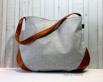 READY TO SHIP - The Snoho Slouch Bag - Light Grey Hatch Twill with Vegan Leather