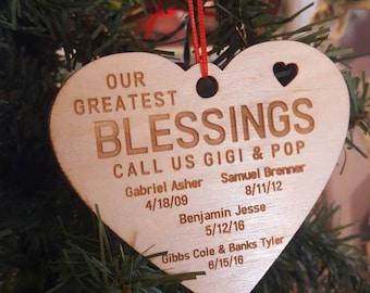personalized grandparent ornament, engraved christmas ornament,  Grandma Christmas gift, Grandpa gift, gift from grandchildren, grandkids