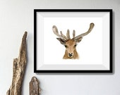 Holiday sale Deer Art Print, deer head watercolor print, woodland print, gift for men ,antler, fathers day, Christmas art, minimalist art, d