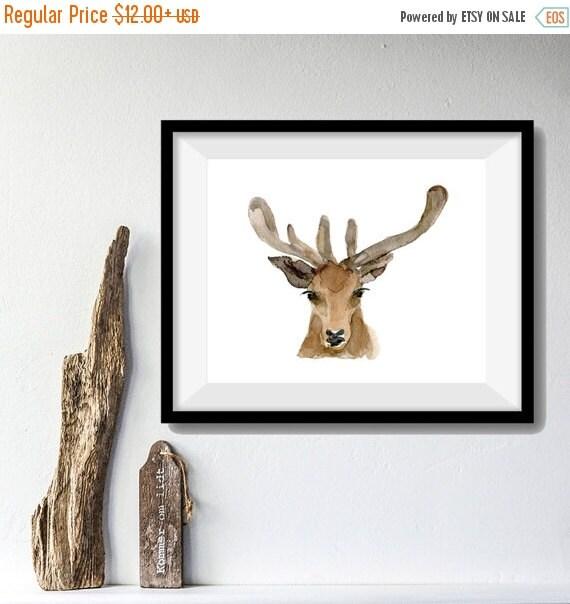 Holiday sale Deer Art Print, deer head watercolor print, woodland print, gift for men ,antler, fathers day, Christmas art, minimalist art, d