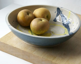 Splatter pattern yellow and blue bowl - hand thrown stoneware pottery