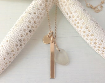 14k triple charm SEA GLASS necklace Thin gold filled fill chain Made in Hawaii GOLD bar & coin Gift for her bff bridesmaids wedding beach