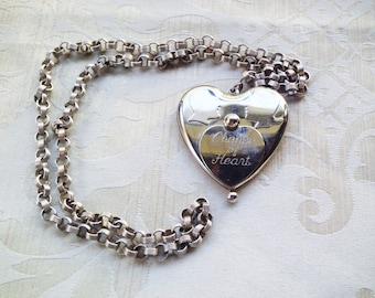 Vintage Change of Heart Large Coin Locket Necklace Silvertone