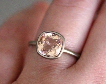 Genuine Morganite 14K Gold Ring, Gemstone RIng, Cushion Shape Ring, Eco Friendly, Engagement Ring, Stacking Ring, Recycled - Made To Order